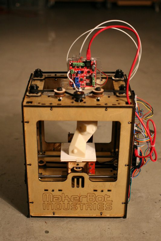 A MakerBot three-dimensional printer.